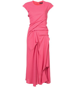 pink crepe twist dress