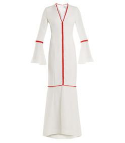 white maxi bell sleeve dress