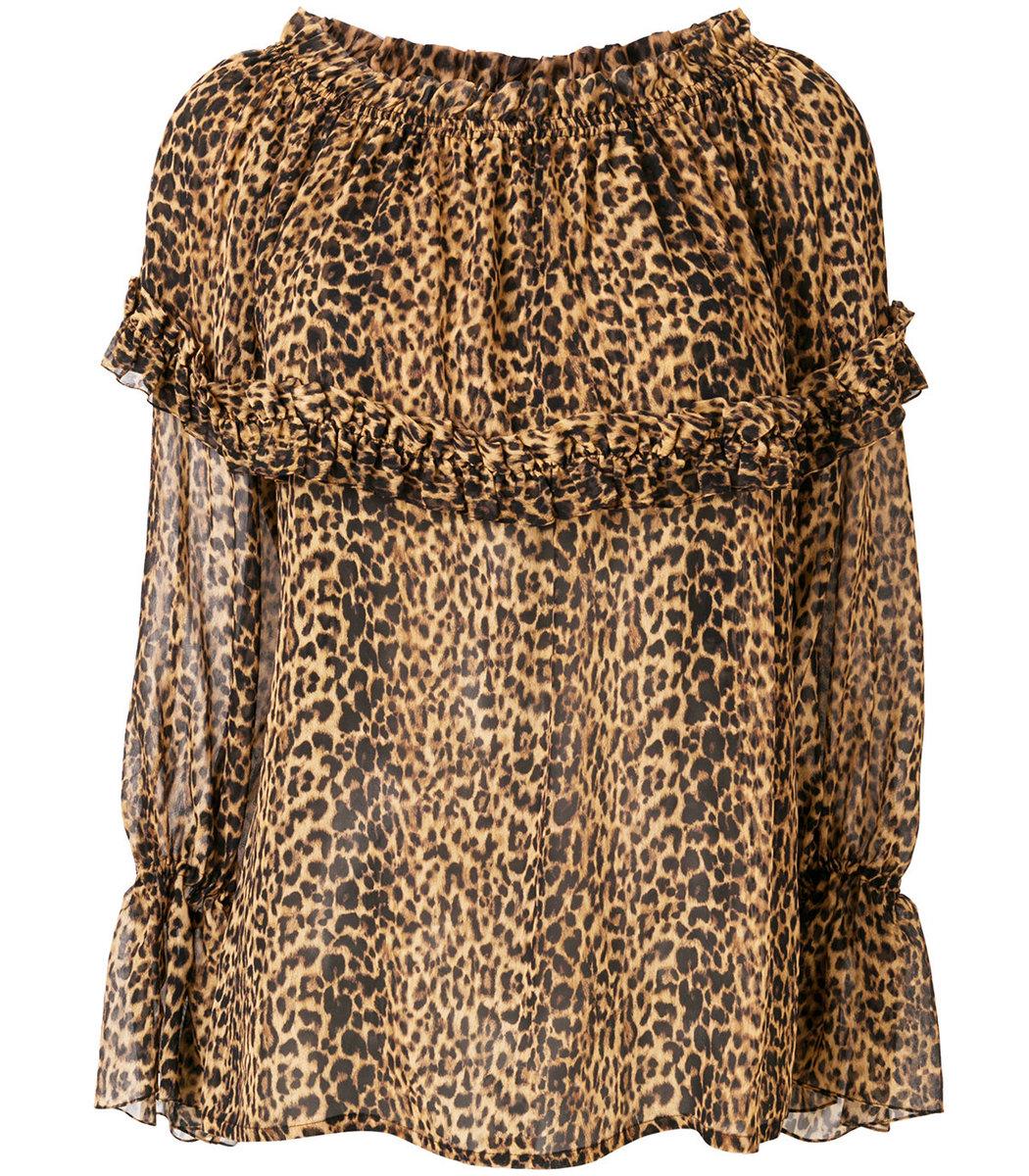 SAINT LAURENT Brown Off The Shoulder Leopard Blouse
