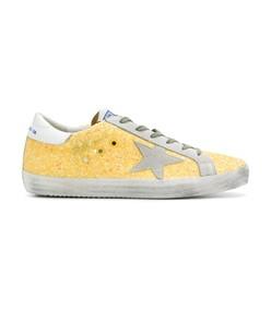 yellow glitter superstar sneaker