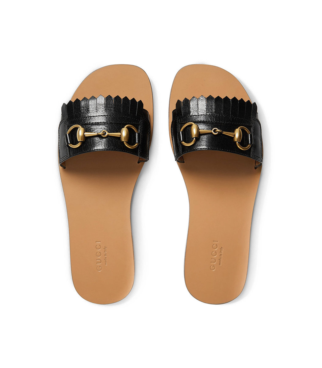 0c51266cb0f Gucci Varadero Fringed Slides - Black Leather Slides