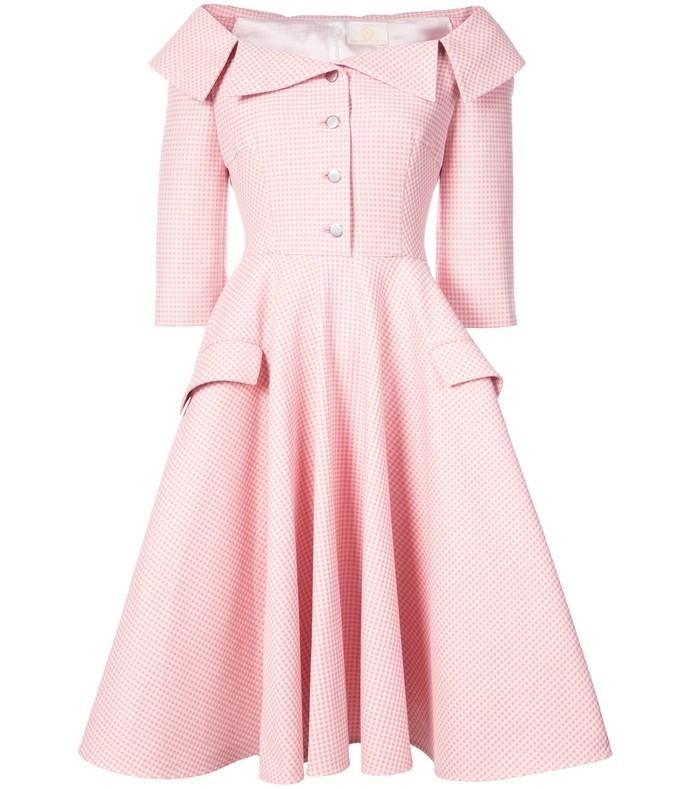 pink/white off the shoulder gingham dress