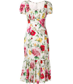 multicolor floral gathered midi dress