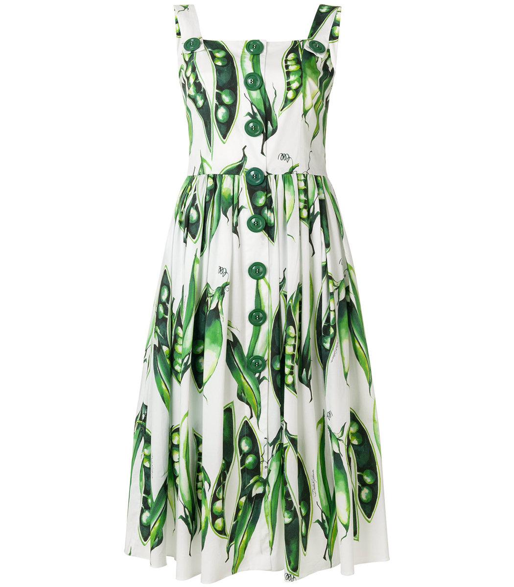DOLCE & GABBANA Green & White Snap Pea Midi Dress
