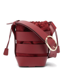 cage leather and suede bucket bag