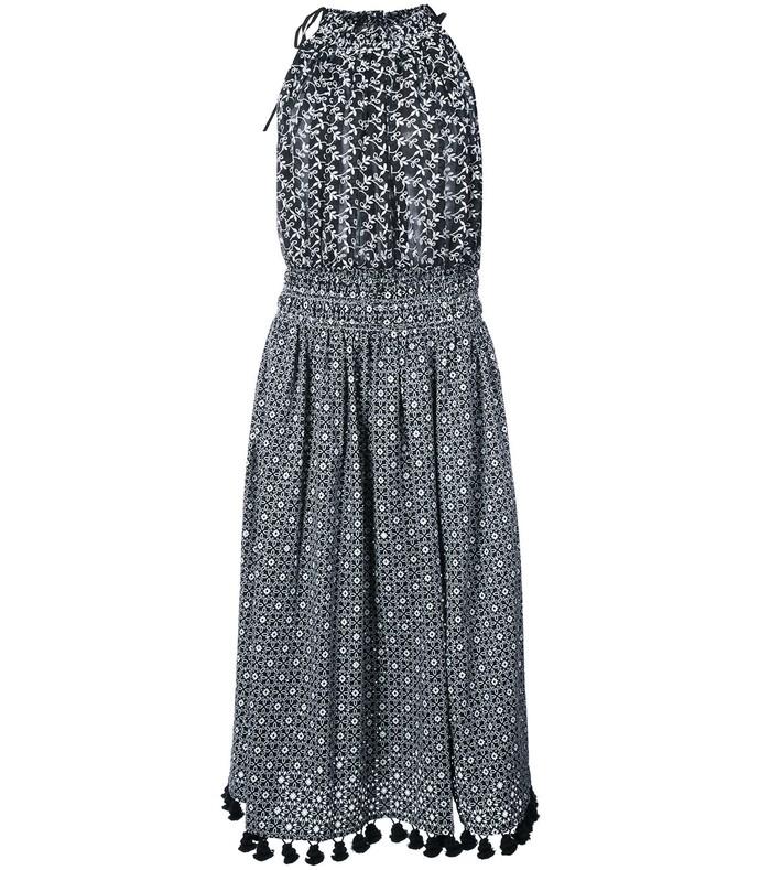 black/white vivienne halter midi dress