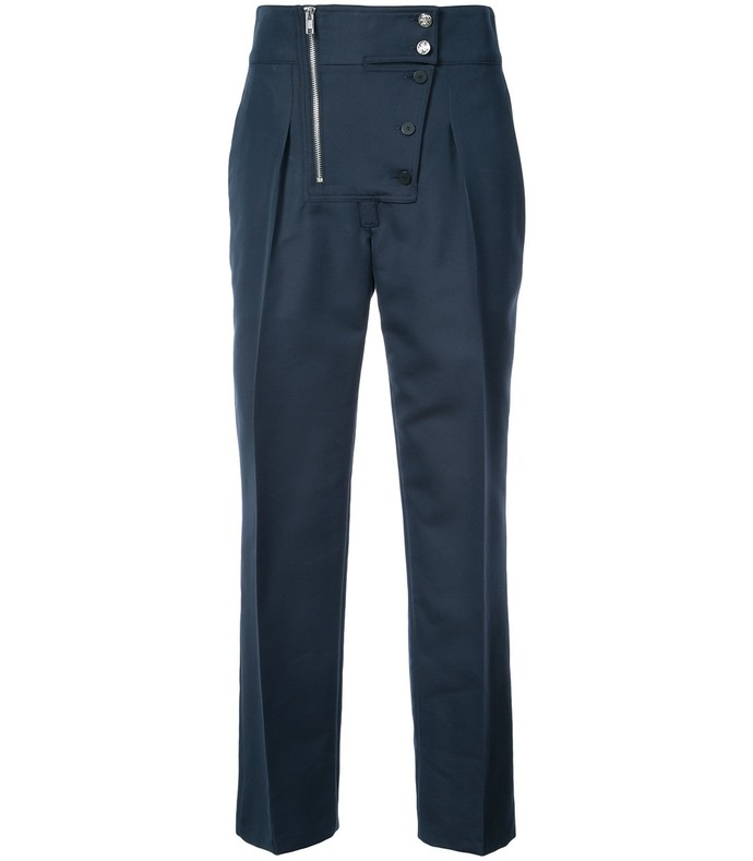 navy cotton and silk-blend tapered pants