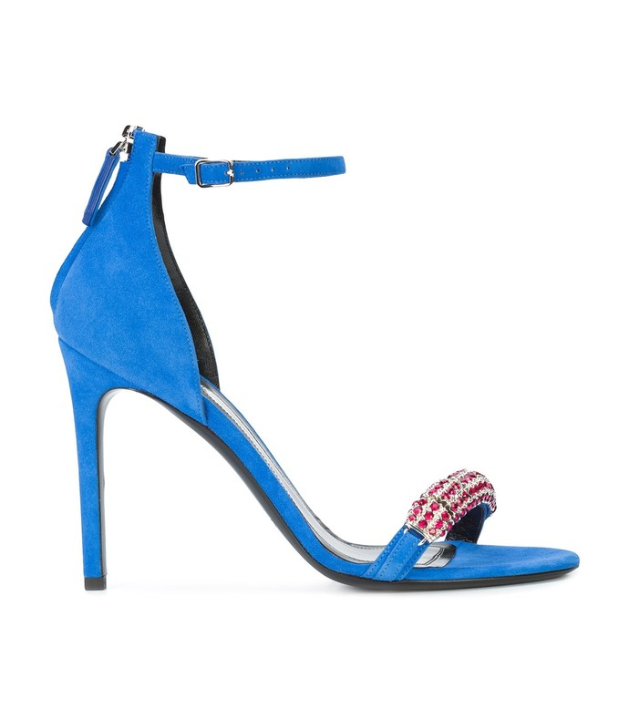 blue embellished suede sandals