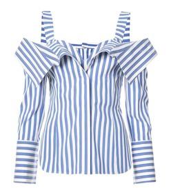 blue/white stripe cold shoulder top