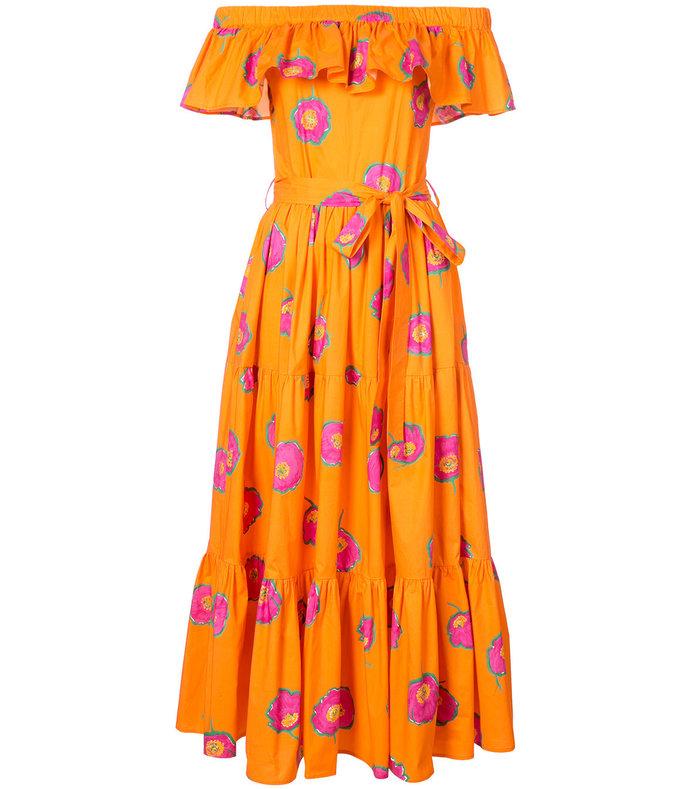 orange pink papaveri arancio yacht dress