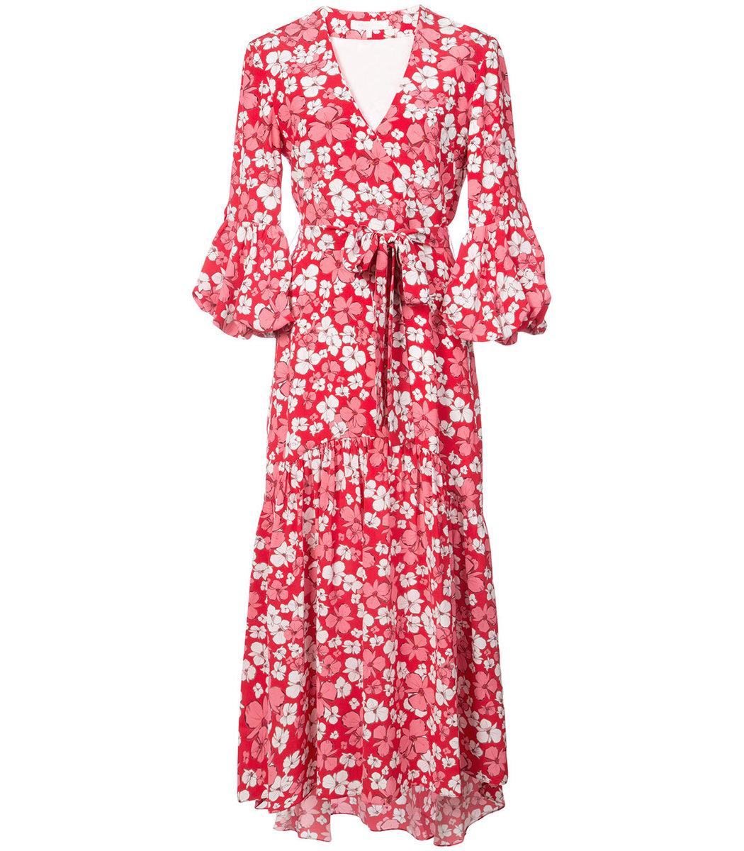 Borgo De Nor Ingrid Red and White Floral Print Dress