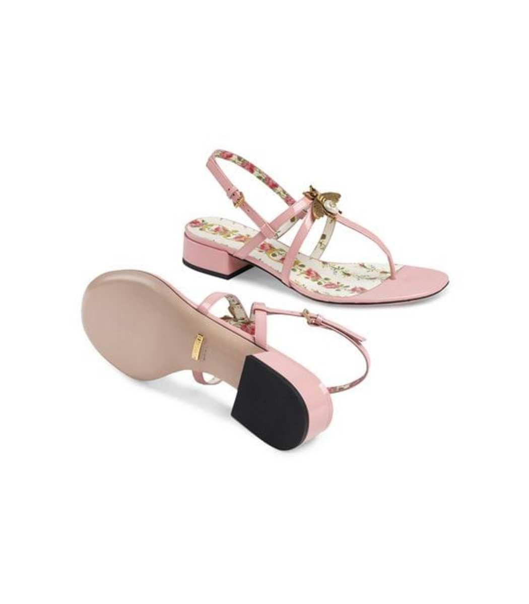 57b0fd7a82e Gucci Bee Patent Leather Sandals - Light Pink Adjustable Strap Sandals