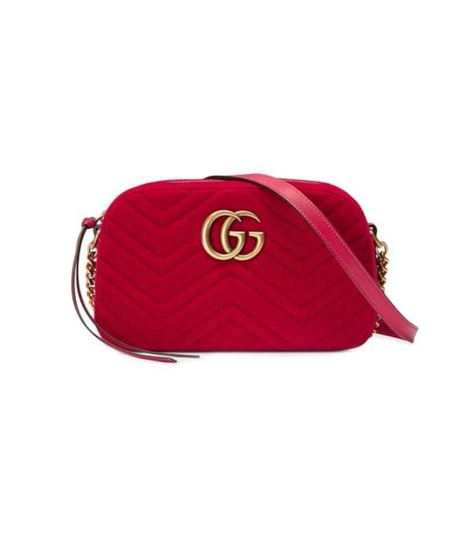 gg marmont velvet small shoulder bag