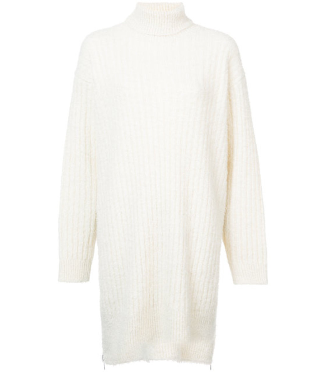 Givenchy Cream Turtle Neck Sweater Dress In White Modesens