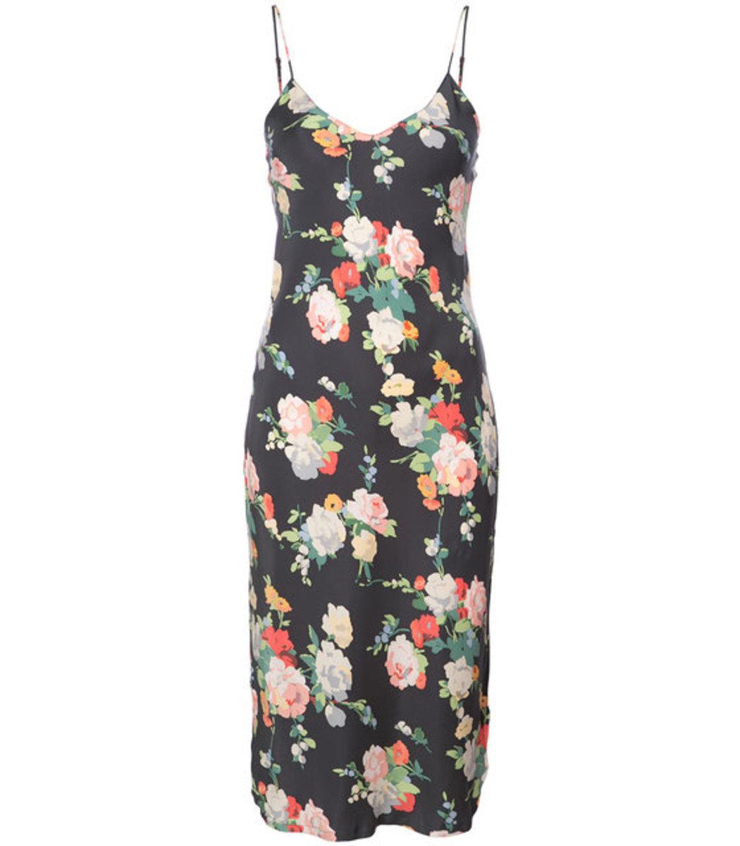 Black Multicolor Floral Slip Dress