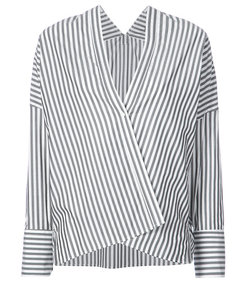 black/white striped single button shirt