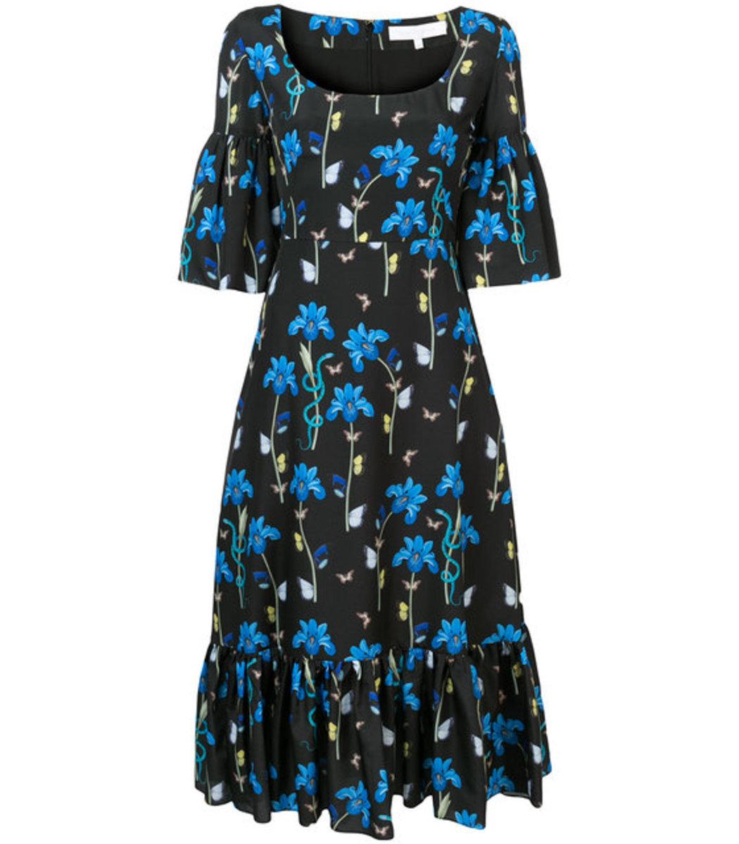 Borgo De Nor Black/Multicolor Iris Printed Round Neck Dress