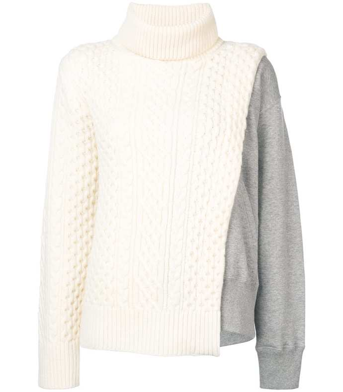 layered cable knit tabard sweatshirt
