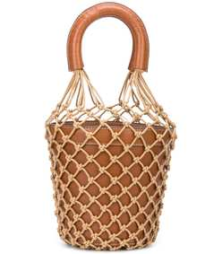 brown crochet moreau leather bucket bag