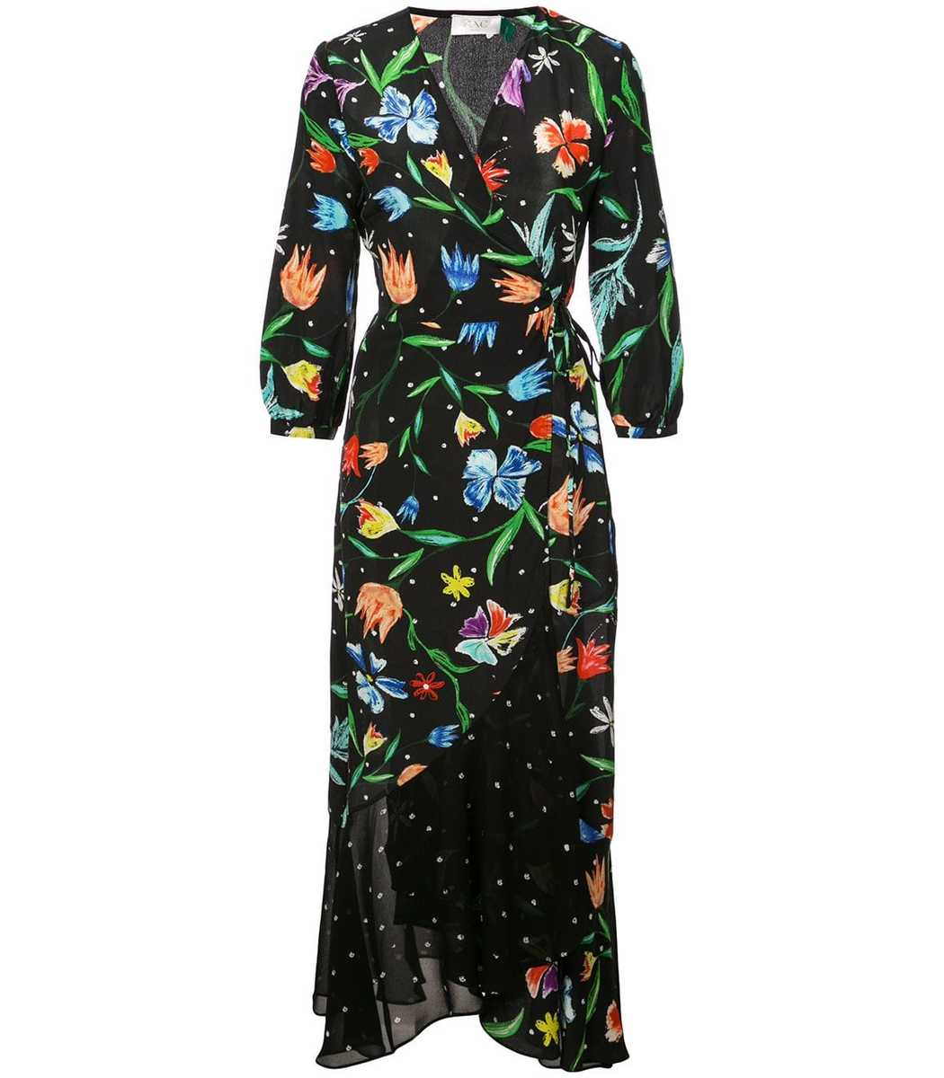 Rixo London Floral Midi Wrap Dress
