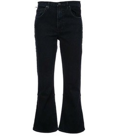 black cropped flare jeans