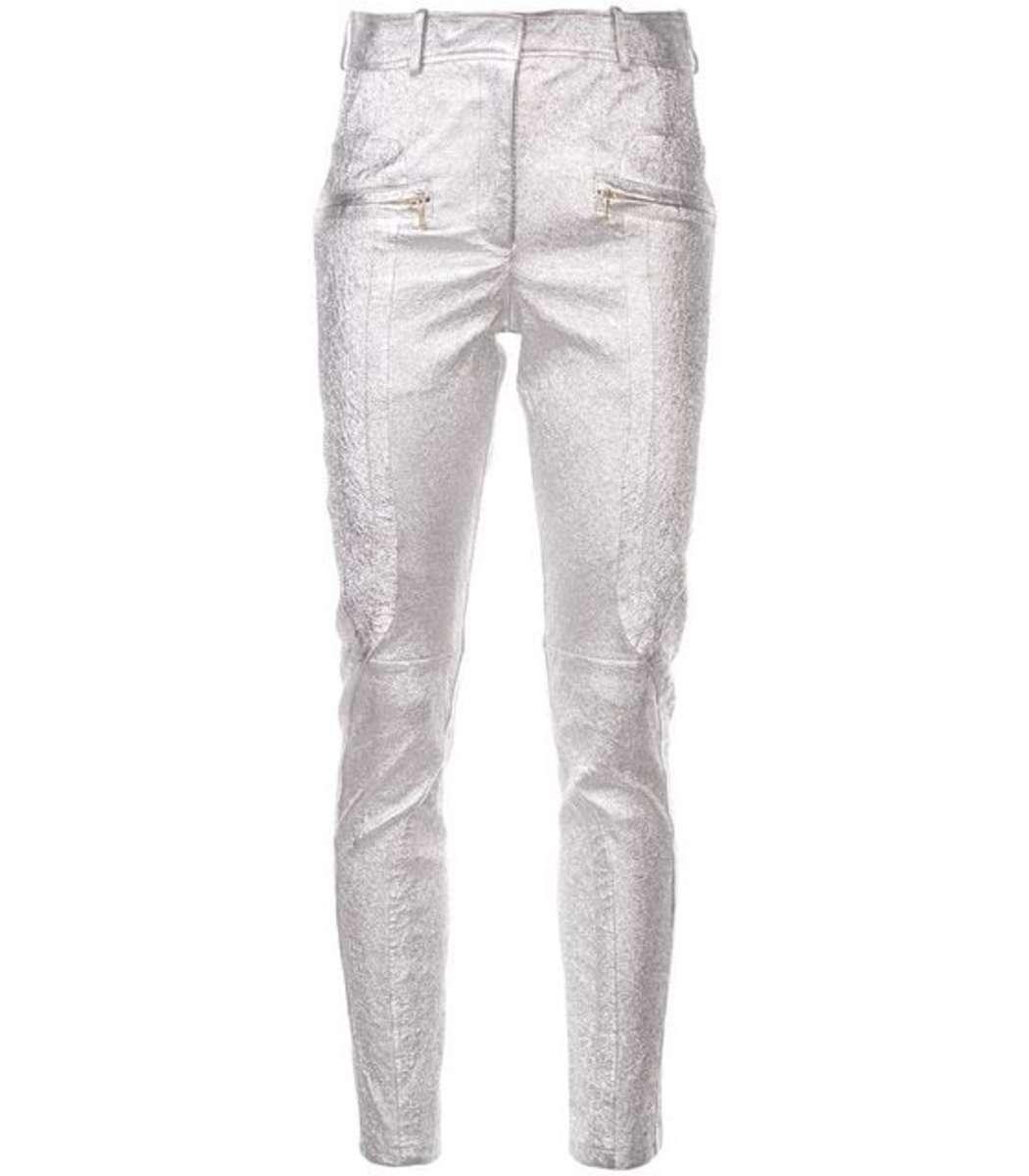 Sies Marjan Leathers Silver Skinny Trousers