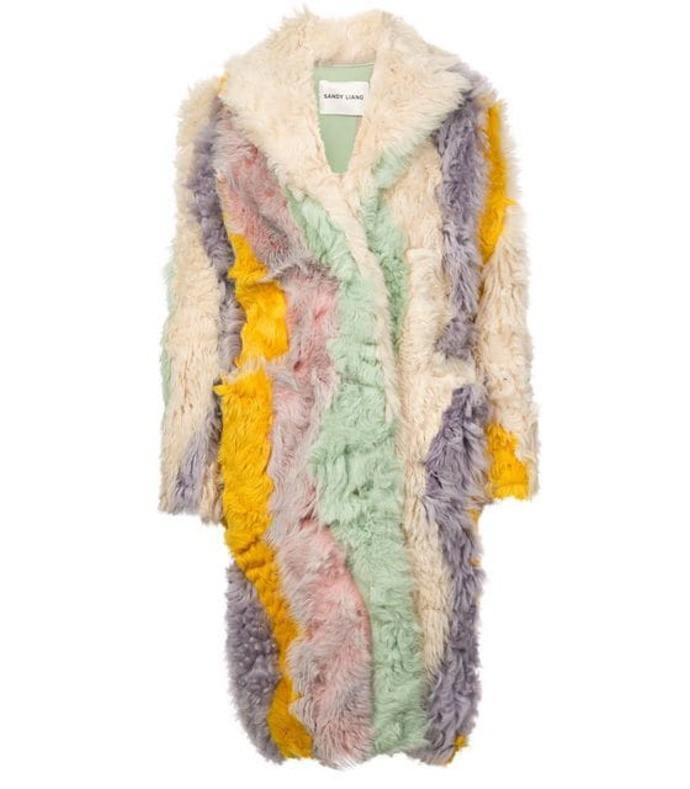 striped shearling coat