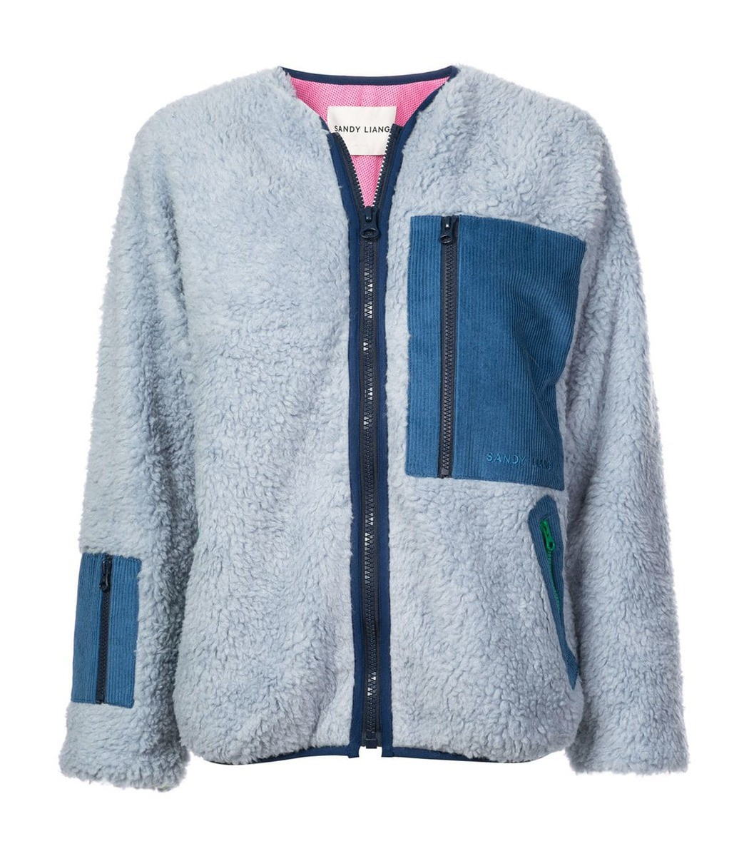 Sandy Liang Light Blue Fleece Patch Jacket