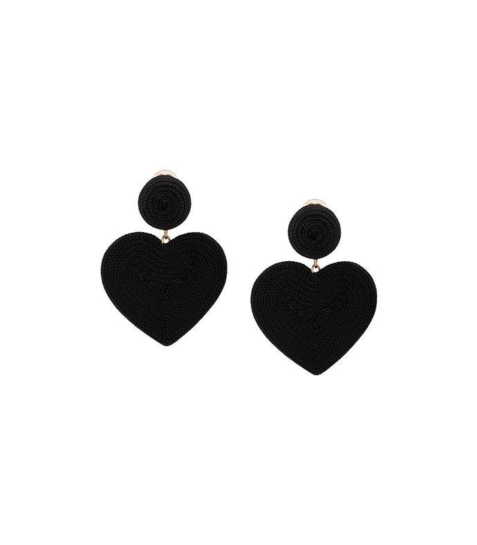 black cora heart clip-on earrings