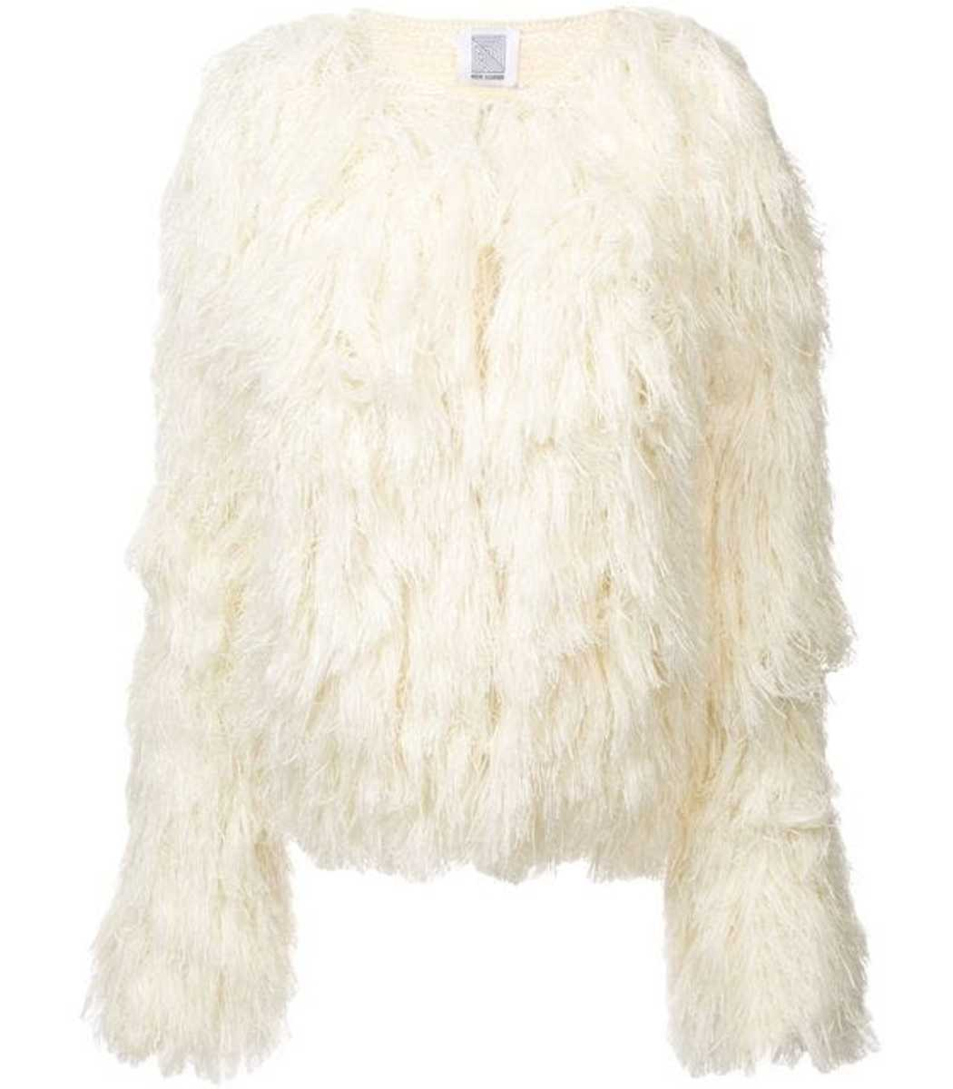 Rosie Assoulin Cream Fringed Knit Jacket