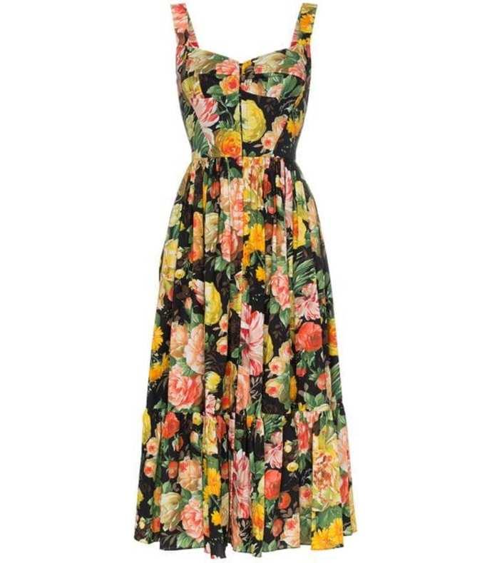 full skirt floral midi dress