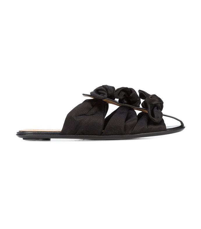 capri satin and leather mules