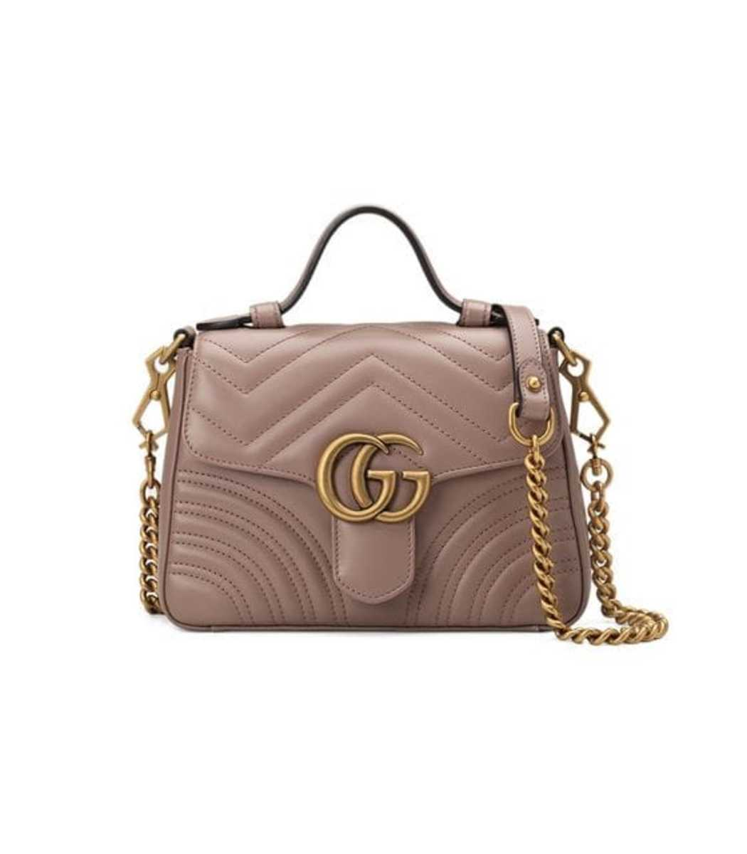571bc7184c0 Gucci Gg Marmont Mini Chevron Leather Satchel Bag In Brown ...