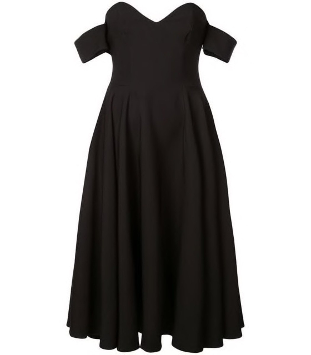 Sara Battaglia Black Bardot Dress