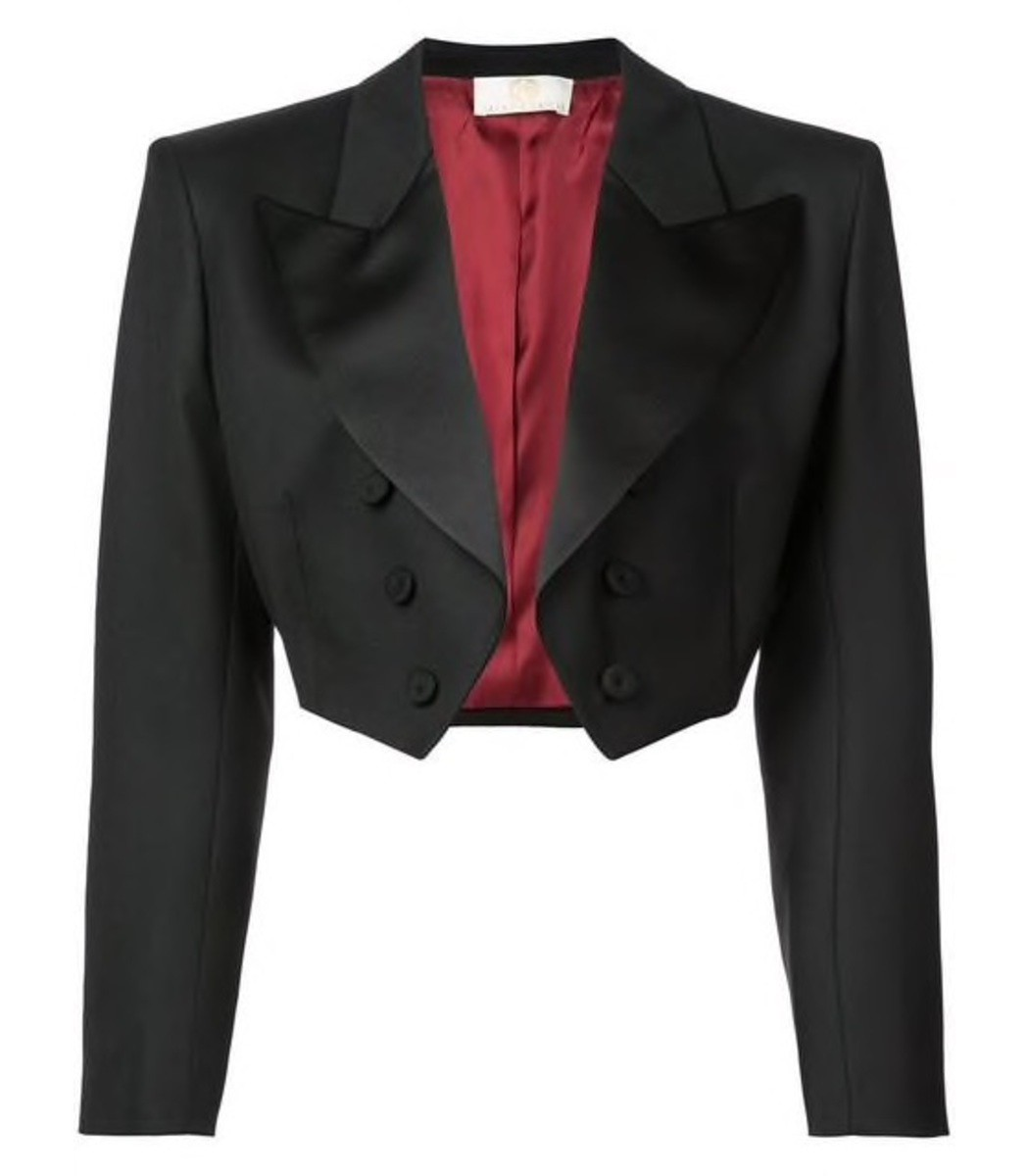 Sara Battaglia Black Cropped Tuxedo Jacket