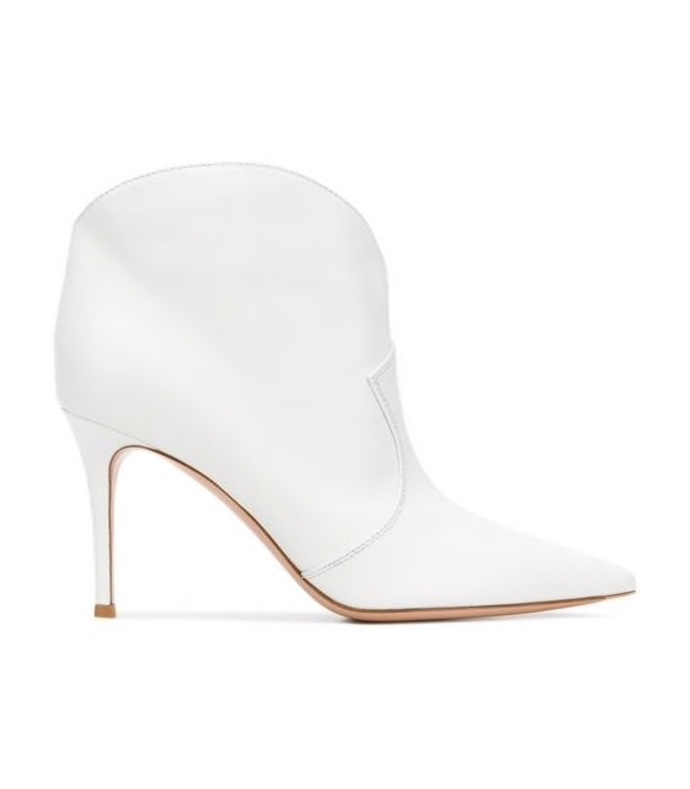 white pointed ankle boots