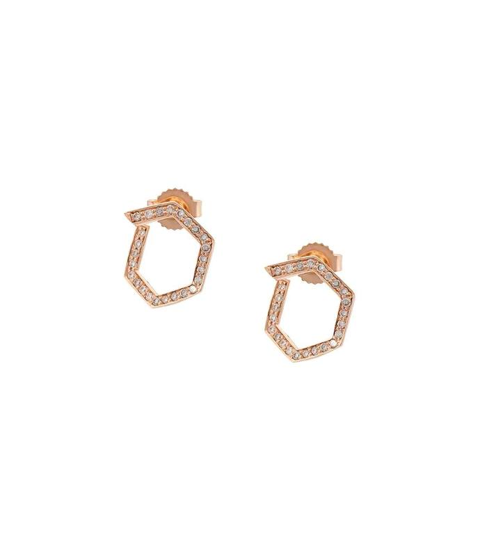 rose gold hexagon diamond studs