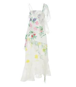white floral layered slip dress