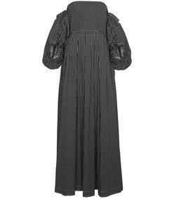 black off the shoulder polka dot dress