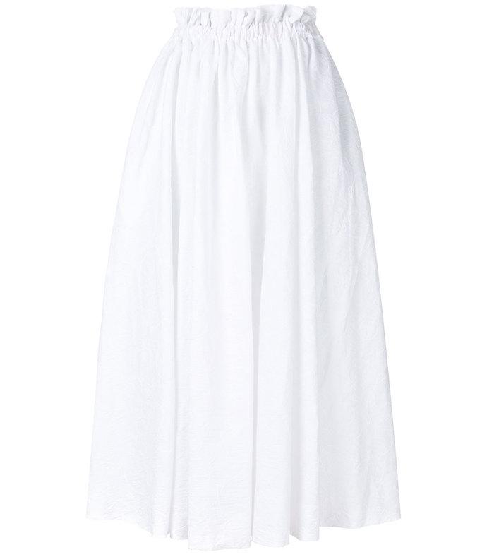 white high-waisted full skirt