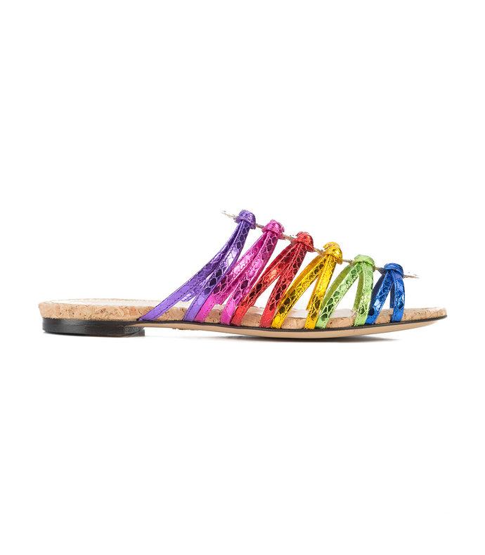 multicolor metallic rainbow sandals