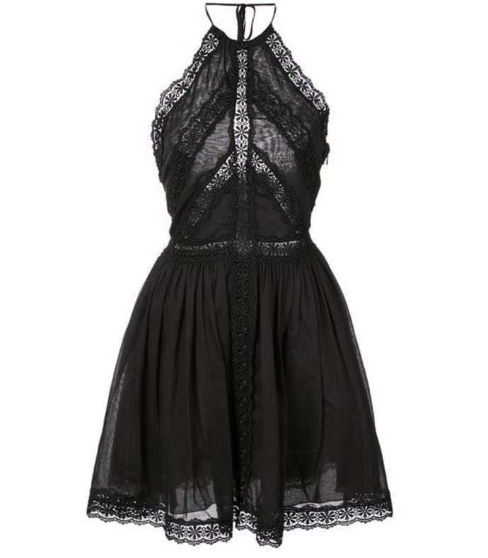 embroidered trim mini dress