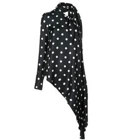 asymmetric polka dot top