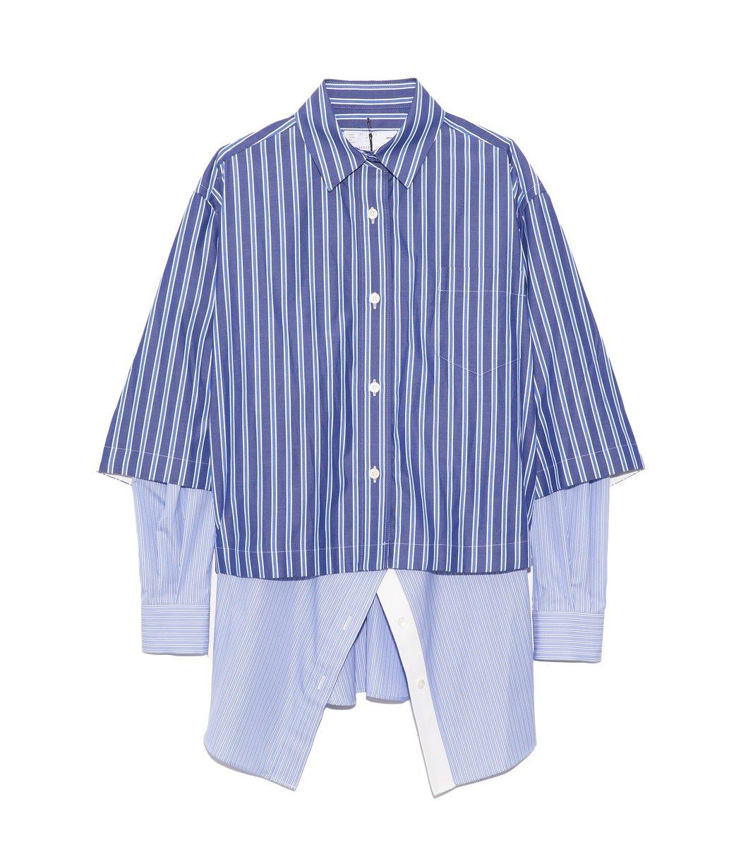 Sacai Cotton Poplin Stripe Double Shirt in Blue