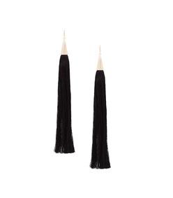 black long silk tassel earrings
