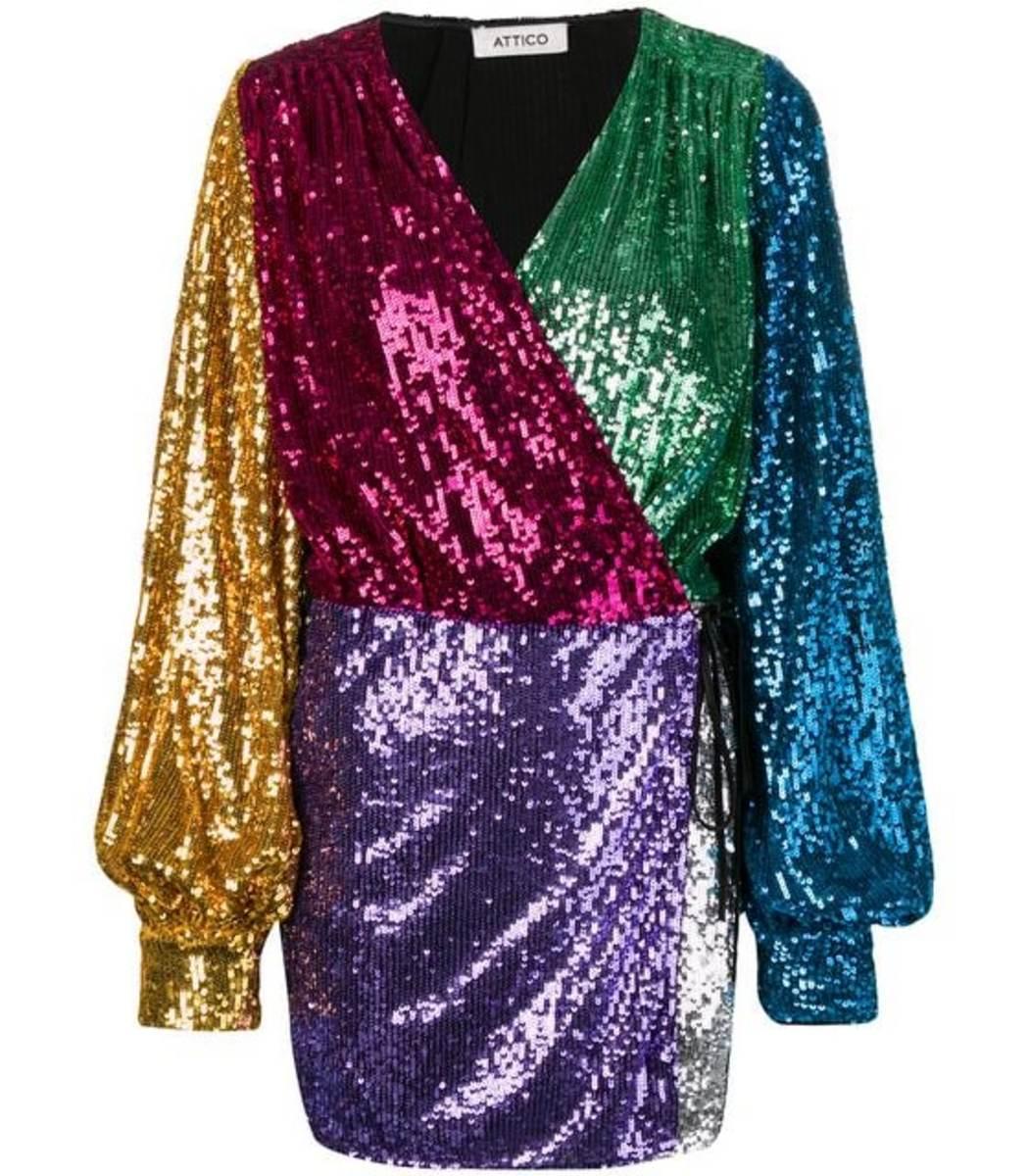Attico Dresses Sequin Mini Wrap Dress