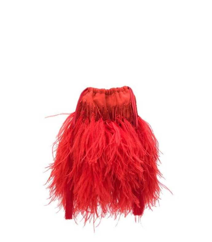ostrich feather tassel pouch