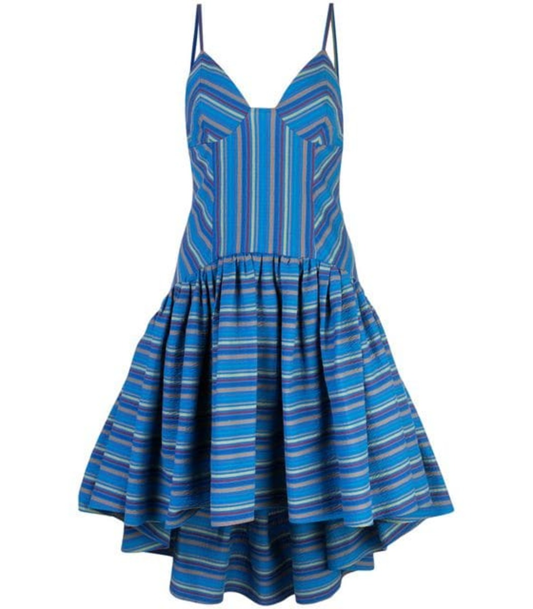 Rosie Assoulin Seersucker Striped High-Low Dress