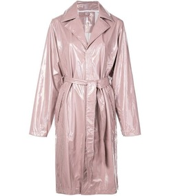 long holographic belted trench coat