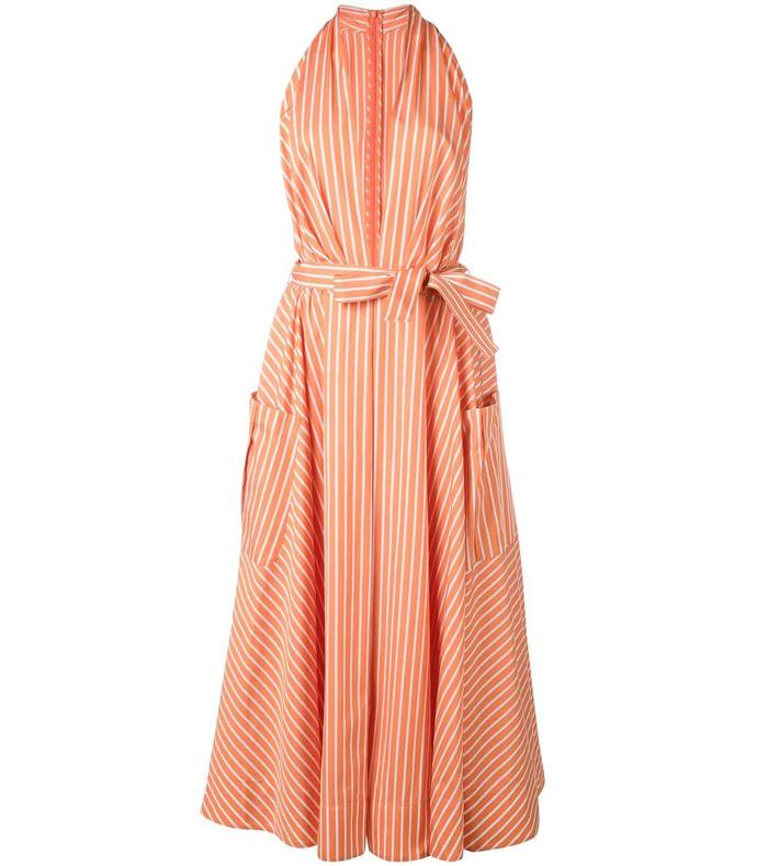 plunge neck striped dress